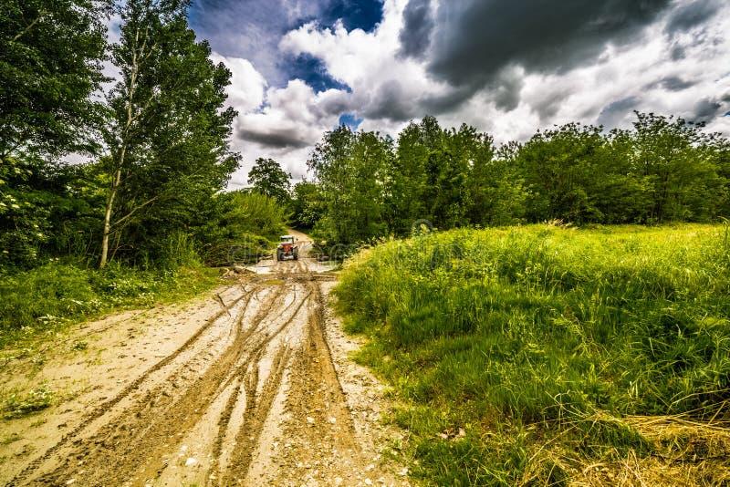 Колейности в грязи трактором стоковое фото