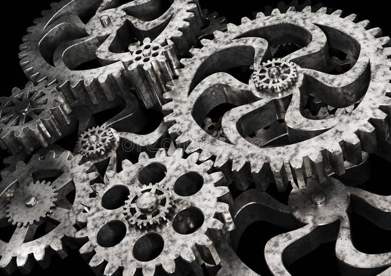 Колеса шестерней от ржавого металла на черной предпосылке иллюстрация штока