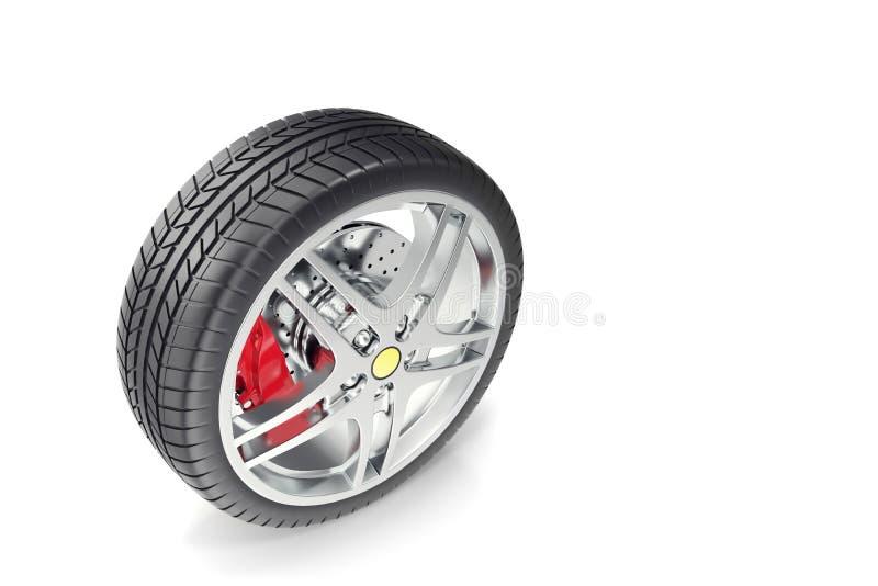 Колесо автомобиля изолированное на белой предпосылке иллюстрация 3d иллюстрация штока