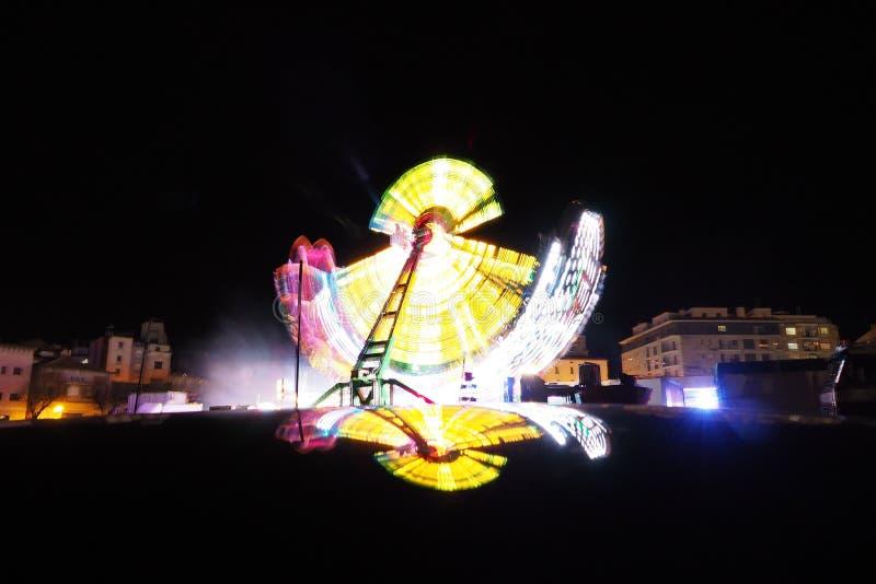 колесо вектора парка ночи ferris занятности стоковое изображение