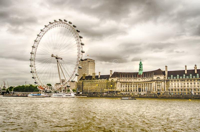 Колесо глаза Лондона панорамное стоковая фотография rf