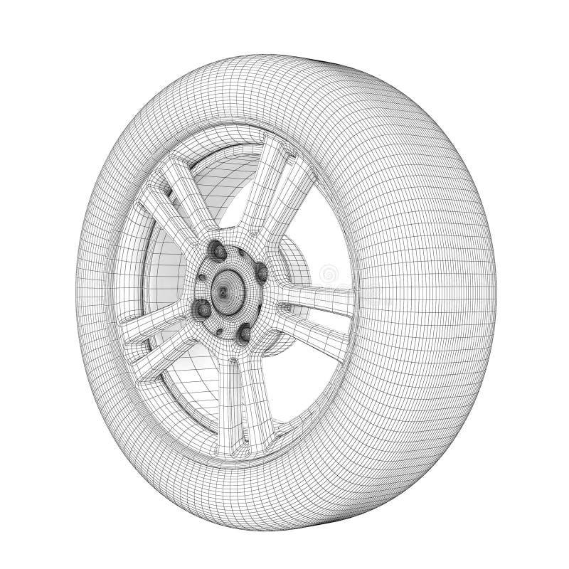 Колесо на белой модели провода бесплатная иллюстрация