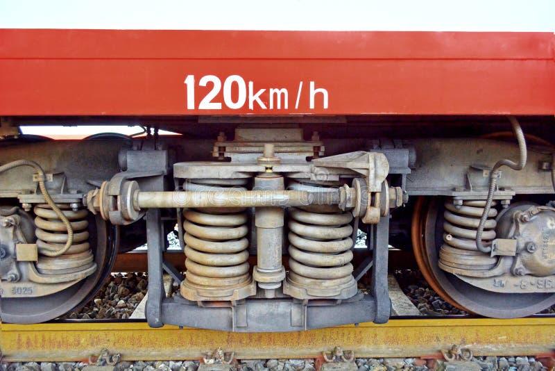 Колесо поезда на следе стоковые изображения rf