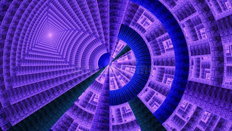 Колесо фрактали механически украшенное с различными орнаментальными геометрическими формами, всеми в светя пурпуре и синью бесплатная иллюстрация