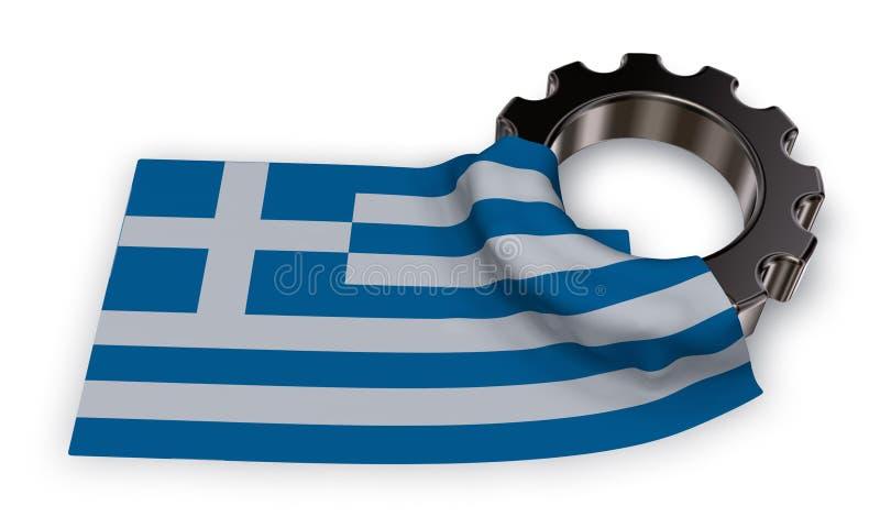 Колесо шестерни и флаг Греции иллюстрация вектора