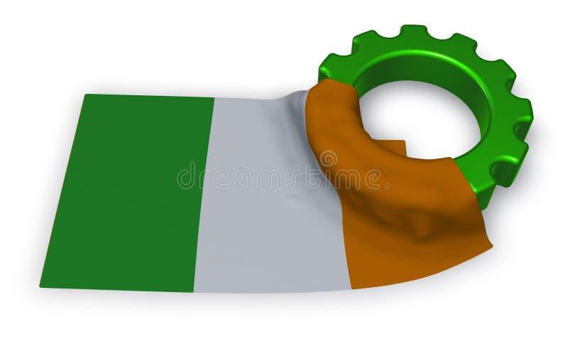 Колесо шестерни и флаг Ирландии иллюстрация вектора