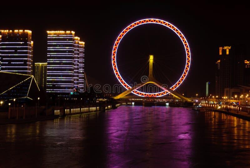 Колесо Ferris глаза Ландшафт-Тяньцзиня города Тяньцзиня на стоковое изображение