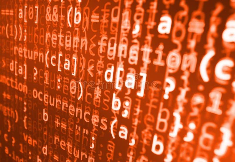 Кодировать программируя экран исходного кода Красочное абстрактное отображение данных Сценарий программы сети разработчика програ иллюстрация штока