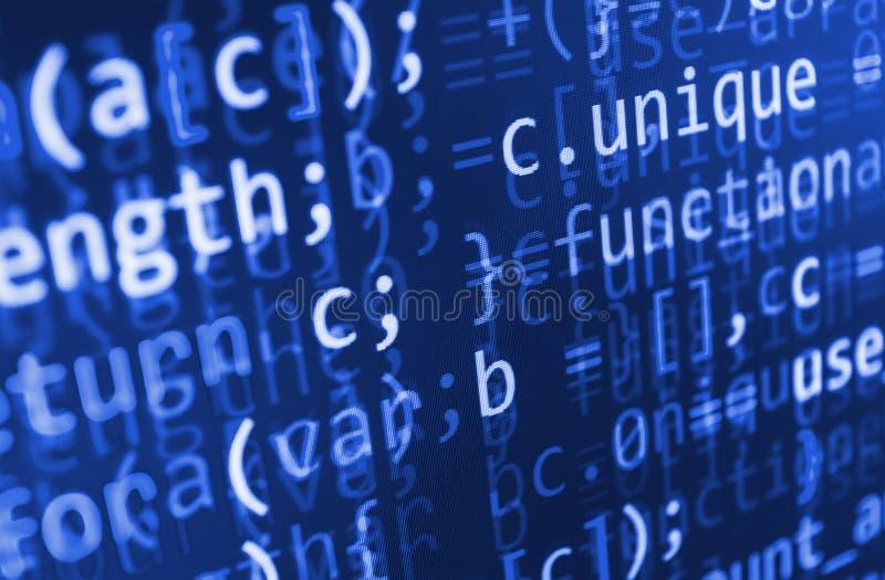 Кодировать программируя экран исходного кода Красочное абстрактное отображение данных Сценарий программы сети разработчика програ бесплатная иллюстрация