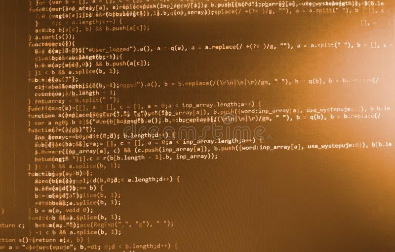 Кодировать программируя экран исходного кода Красочное абстрактное отображение данных Сценарий программы сети разработчика програ иллюстрация вектора