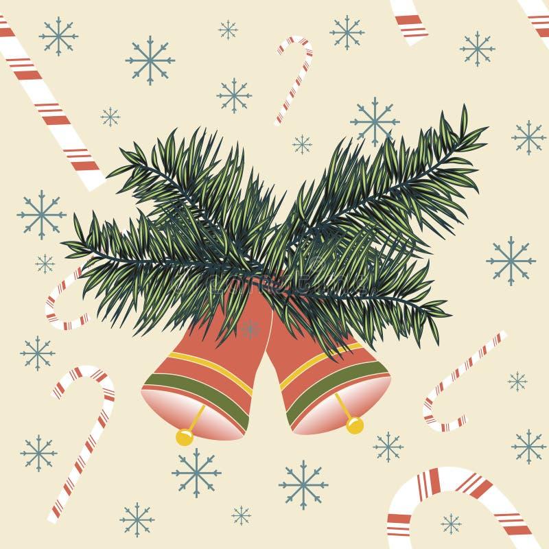 Колоколы рождества с тросточками и снежинками конфеты иллюстрация штока