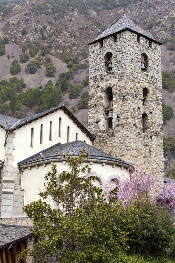 Колокольня церков в городе Ла Vella в Андорре стоковые фотографии rf