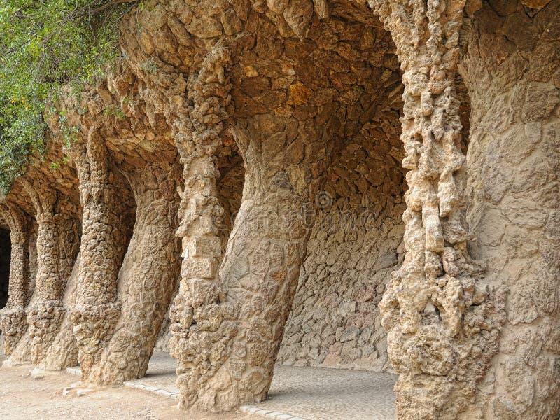 Колоннада в парке Guell стоковое фото