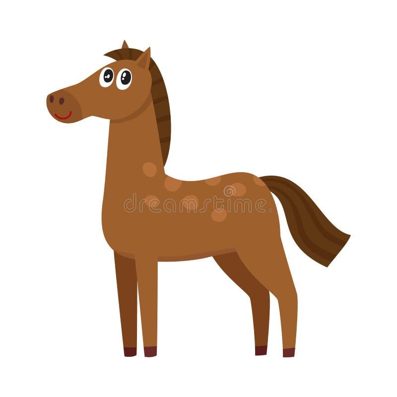 Колодец gromed коричневая лошадь с большими глазами, иллюстрация вектора шаржа иллюстрация вектора