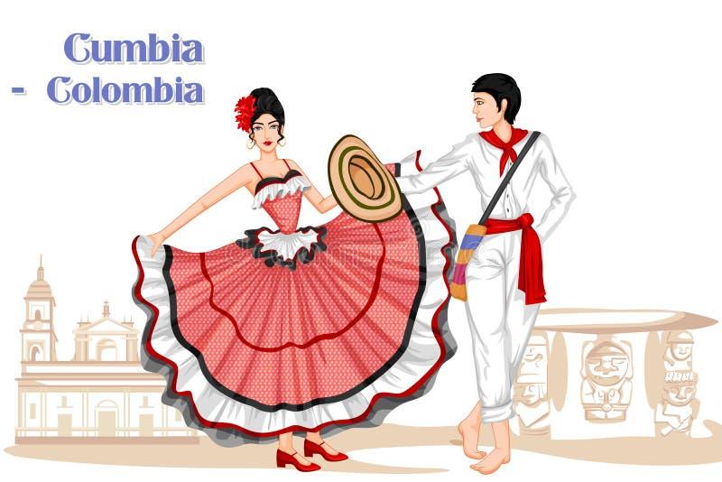 Колумбийские пары выполняя танец Cumbia Колумбии бесплатная иллюстрация