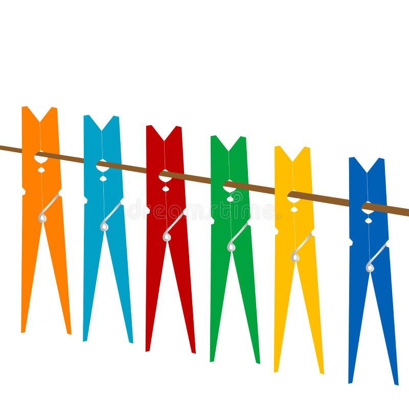 Колышки одежд на веревочке иллюстрация вектора