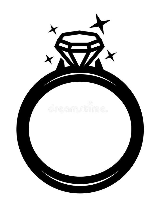 Кольцо вектора черное с диамантом бесплатная иллюстрация