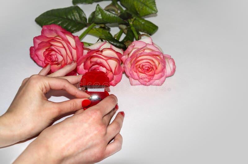 Кольцо в красивой коробке стоковые фотографии rf