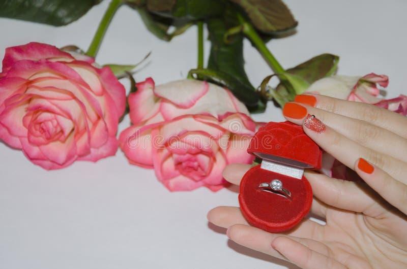 Кольцо в красном случае стоковое фото