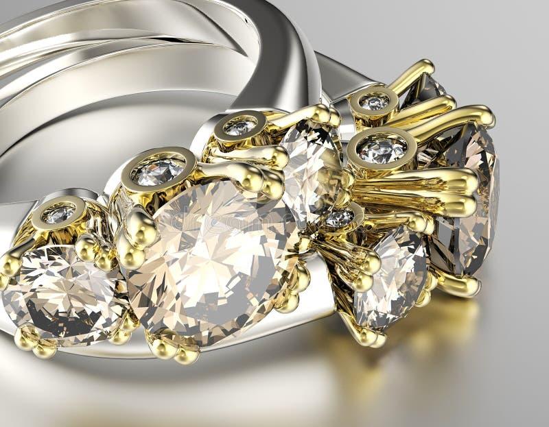 Кольцо с диамантом Предпосылка ювелирных изделий моды стоковая фотография