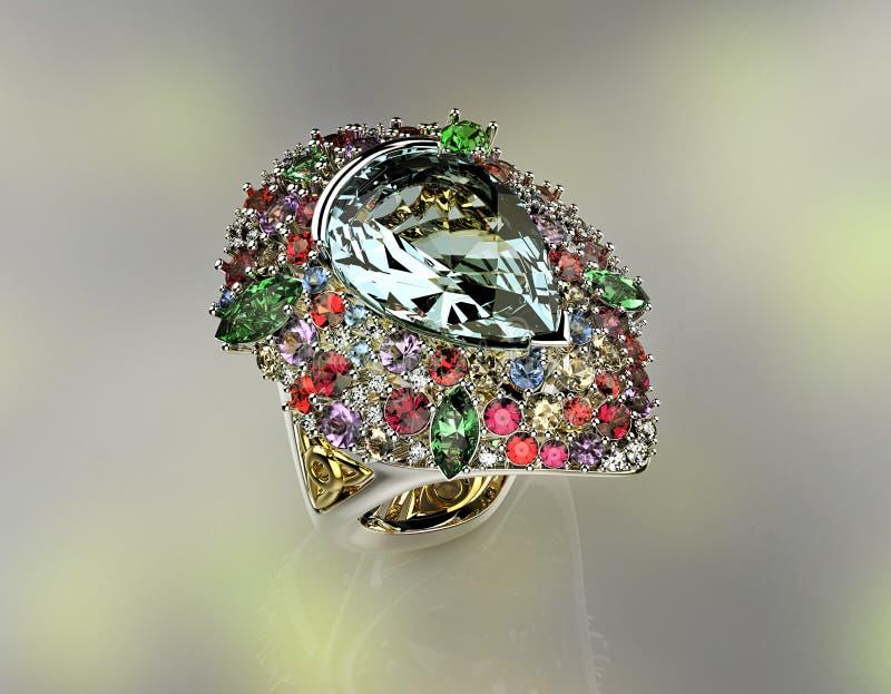 Кольцо с различным диамантом Предпосылка ювелирных изделий моды стоковая фотография