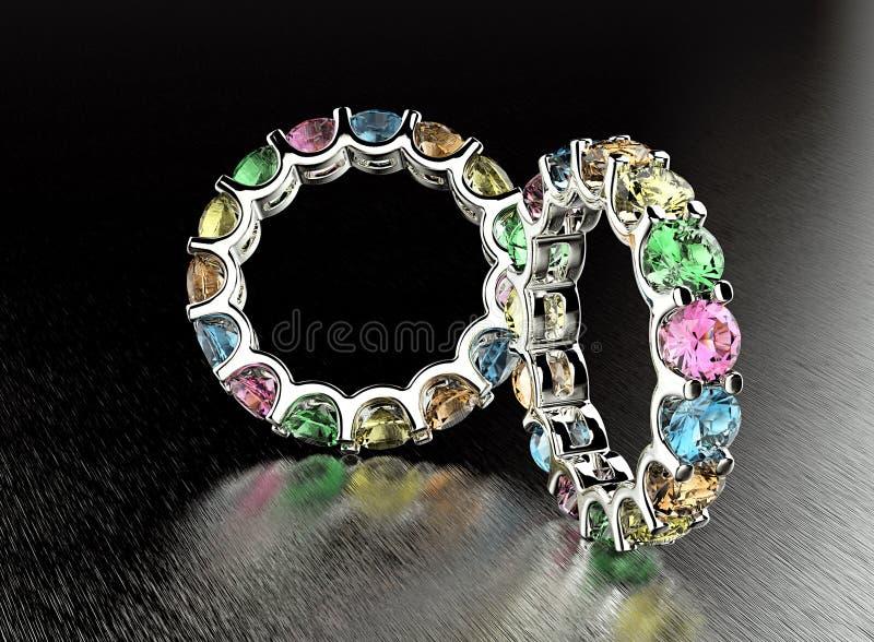 Кольцо с различным диамантом иллюстрация вектора