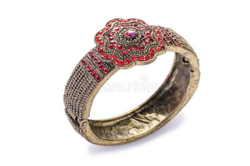 Кольцо украшений золота изолированное на белой предпосылке стоковые фотографии rf