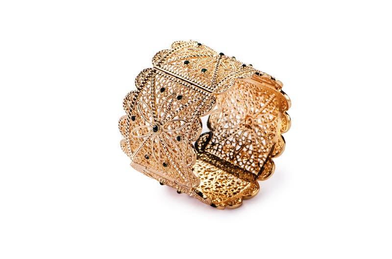 Кольцо украшений золота изолированное на белой предпосылке стоковое изображение rf