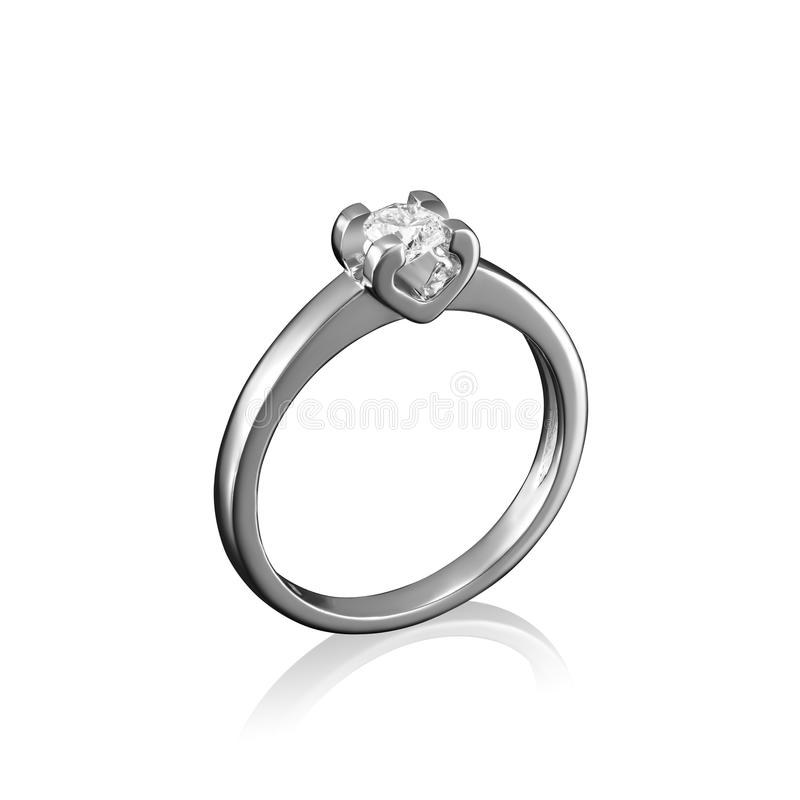 Кольцо ювелирных изделий диаманта белого золота на белой предпосылке с отражением стоковые изображения rf