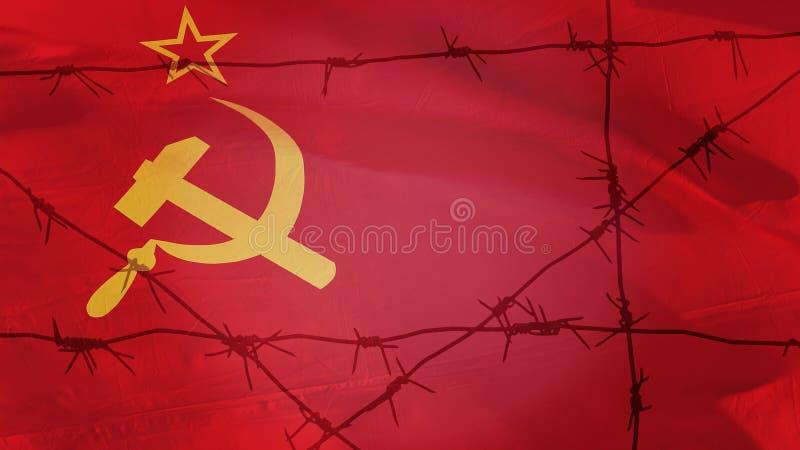 Колючая проволока на предпосылке флага СССР стоковые фотографии rf