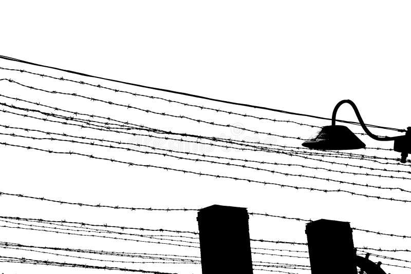 колючая проволока для того чтобы разграничить лагерь для пленных стоковое изображение