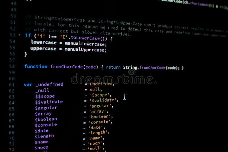 Код AngularJS Кодирвоание библиотеки для рамок JavaScript стоковая фотография rf
