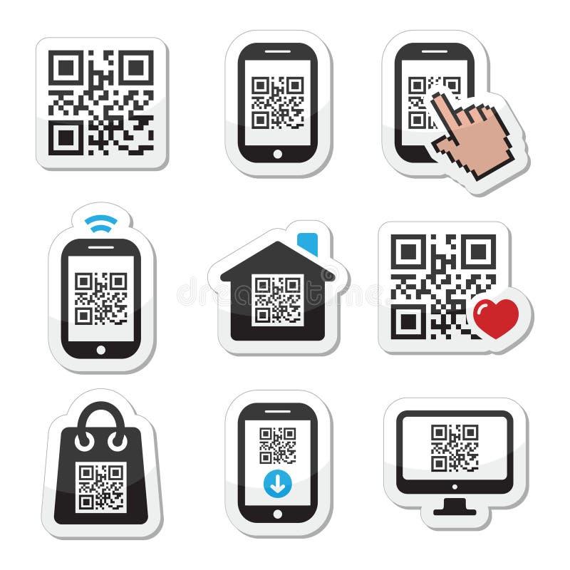Код QR на установленных значках черни или сотового телефона иллюстрация вектора