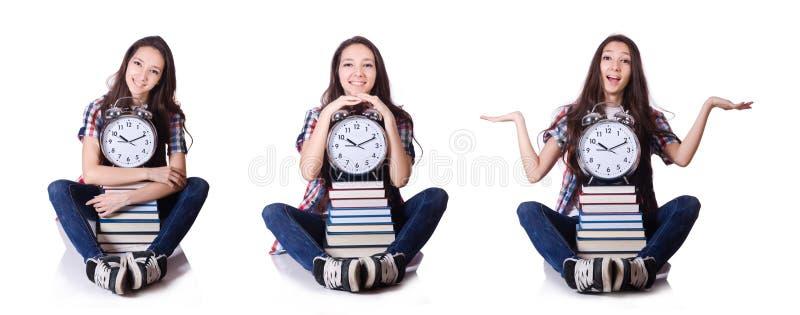 Крайний срок экзамена молодого студента пропуская изолированный на белизне стоковые фото