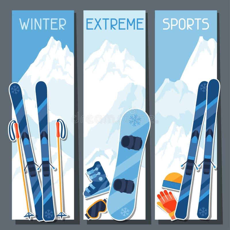Крайность зимы резвится знамена с зимой горы бесплатная иллюстрация