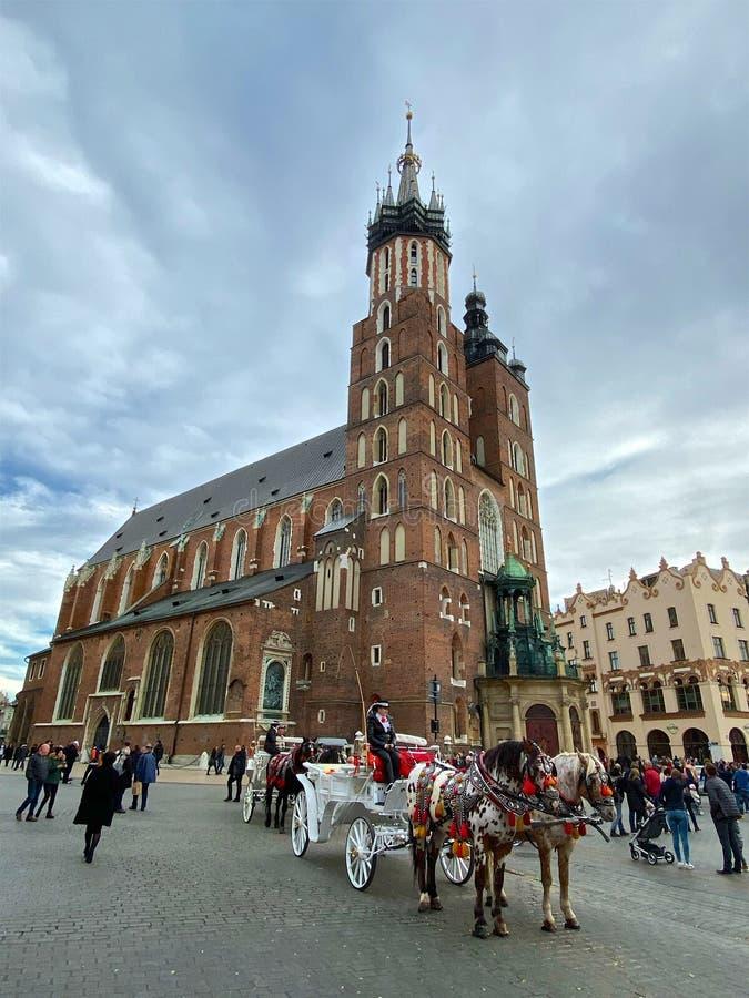 Краков, исторический центр города и церковь Св. Мариса стоковое фото