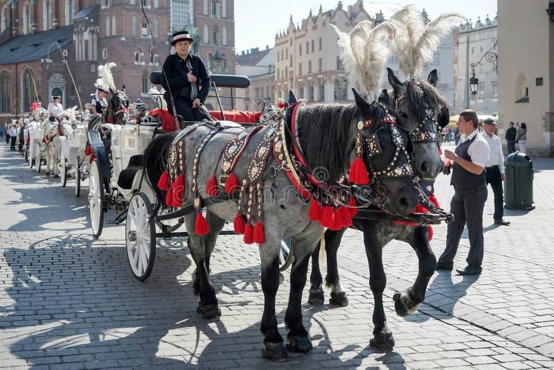 КРАКОВ, POLAND/EUROPE - 19-ОЕ СЕНТЯБРЯ: Экипаж и лошади в Kr стоковые изображения rf