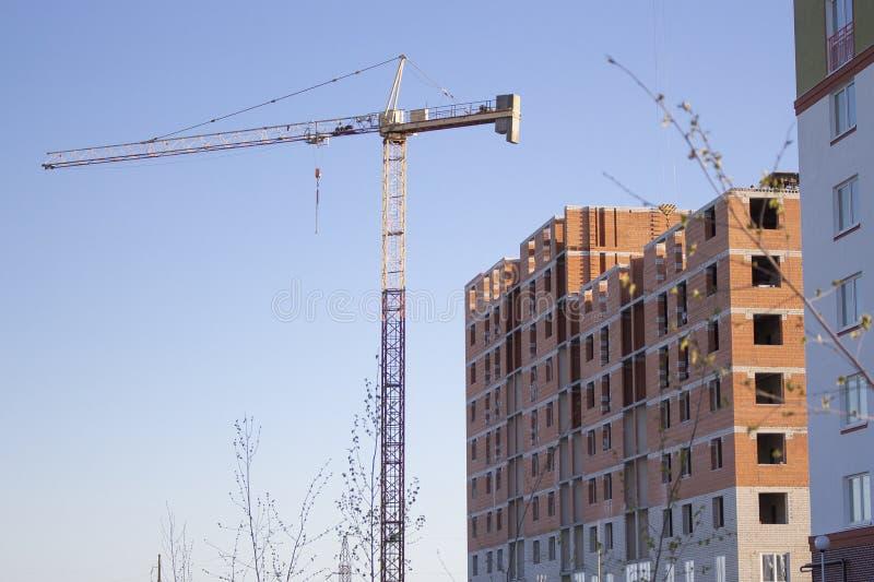 краны высотного здания на конструкции домов стоковое изображение