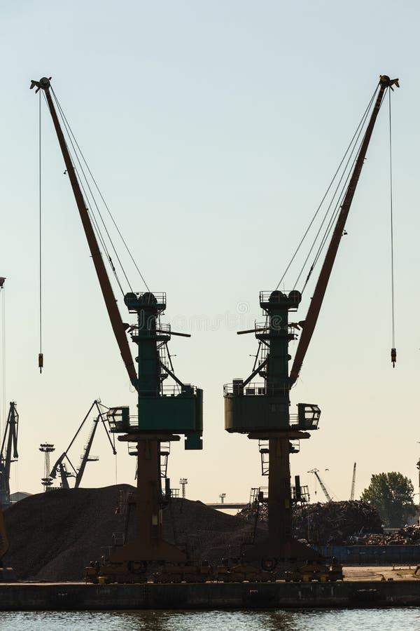 Краны в гавани утра стоковое изображение