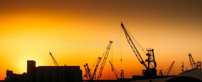 Краны конструкции на месте индустрии стоковая фотография rf
