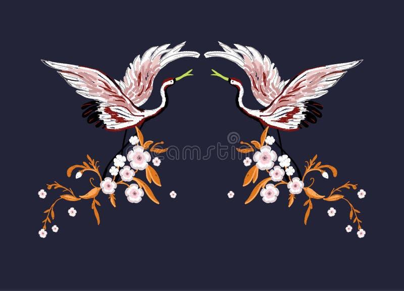 Краны с цветками Вышивка для моды также вектор иллюстрации притяжки corel иллюстрация вектора