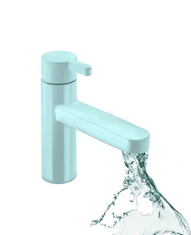 Кран воды кухни изолирован на белизне стоковое изображение
