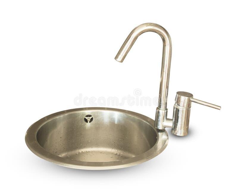 Кран воды кухни изолирован стоковое изображение
