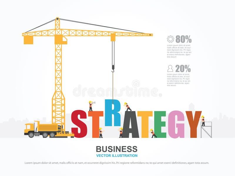Кран и здание стратегии иллюстрация штока