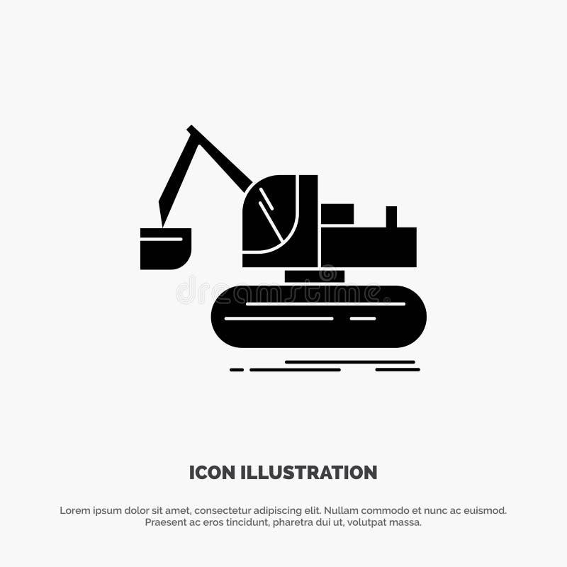 Кран, конструкция, подъем, вектор значка глифа тележки твердый бесплатная иллюстрация
