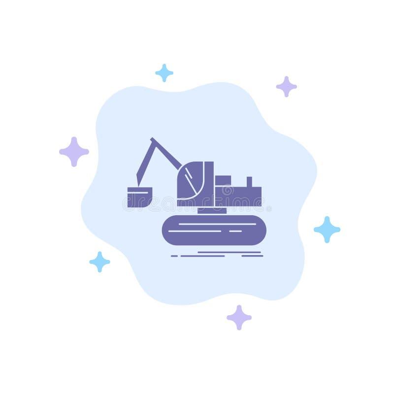 Кран, конструкция, подъем, значок тележки голубой на абстрактной предпосылке облака иллюстрация вектора