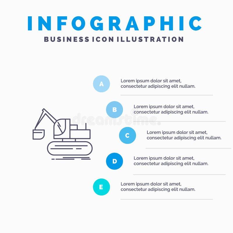 Кран, конструкция, подъем, линия значок тележки с предпосылкой infographics представления 5 шагов иллюстрация вектора