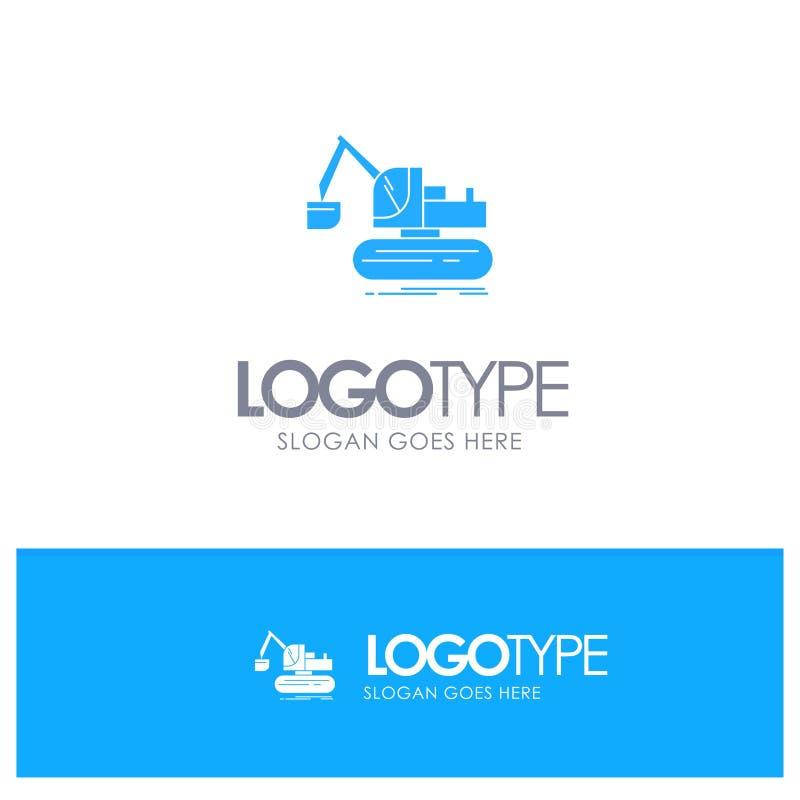 Кран, конструкция, подъем, логотип тележки голубой твердый с местом для слогана бесплатная иллюстрация