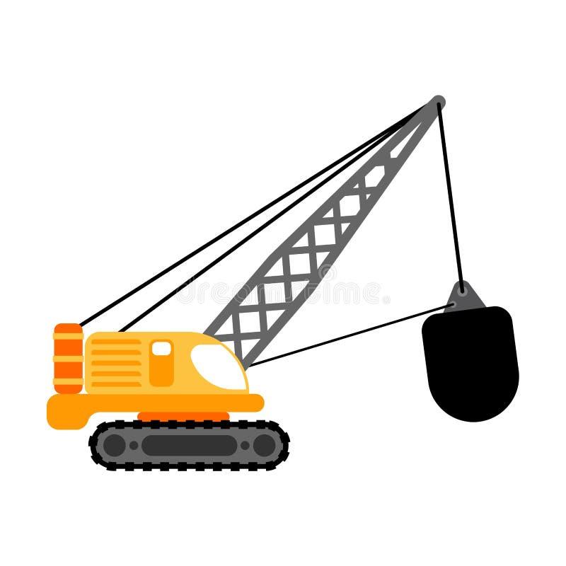 Кран с разрушать изолированный шарик Вектор строительной техники иллюстрация вектора