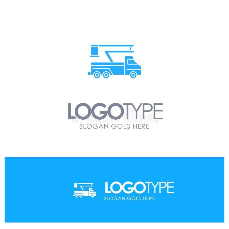 Кран, тележка, подъем, поднимаясь, логотип перехода голубой твердый с местом для слогана бесплатная иллюстрация